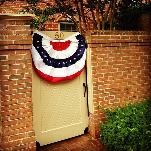 Had to improvise because of the brick, but its not Independence Day without bunting!