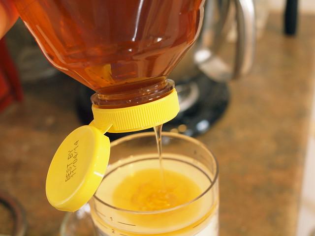 measuring honey.