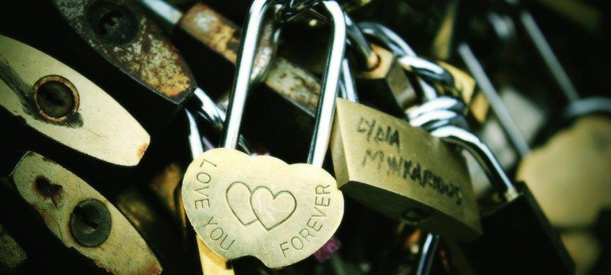 Parisian Curves - Adorable love locks on pedestrian brige over Seine