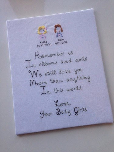 Custom poem and sisters embroidery