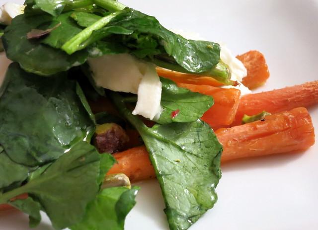 Roasted baby carrots, burrata, watercress, pistachio