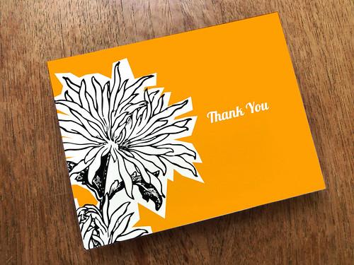 Orange Dahlia Thank You Card Download