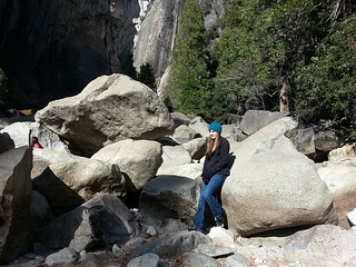 Not much water flowing through Yosemite Falls this time of year. Tony is in the background hiking to the base of the falls.