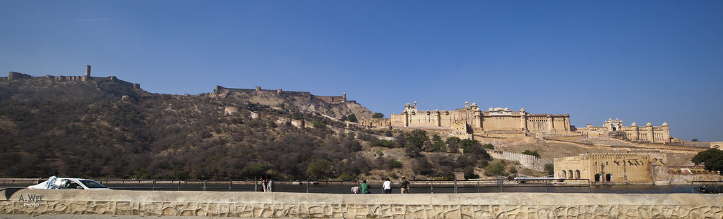 Panorama of Amber Fort and Maota Lake