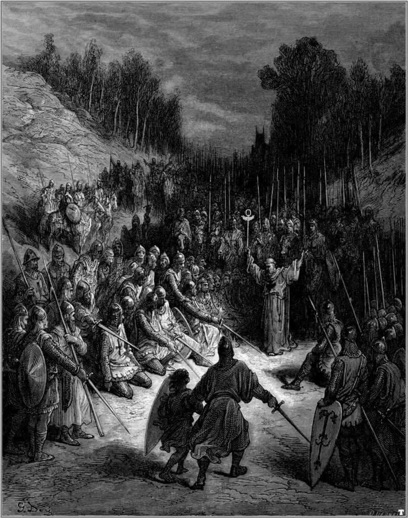6. Arenga a los caballeros antes de la batalla. De la obra Las Cruzadas. Gustavo Doré (1832-1883)