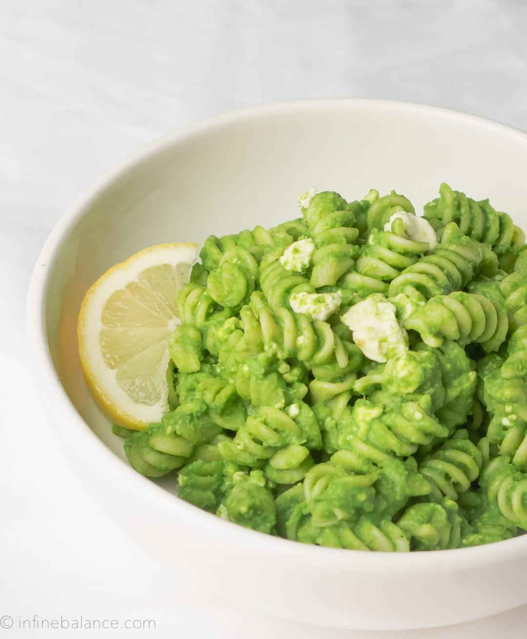 Green Pea Pasta | infinebalance  #dinner #recipe #vegetarian