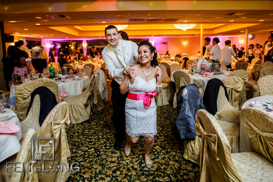 Partying and dancing during wedding reception