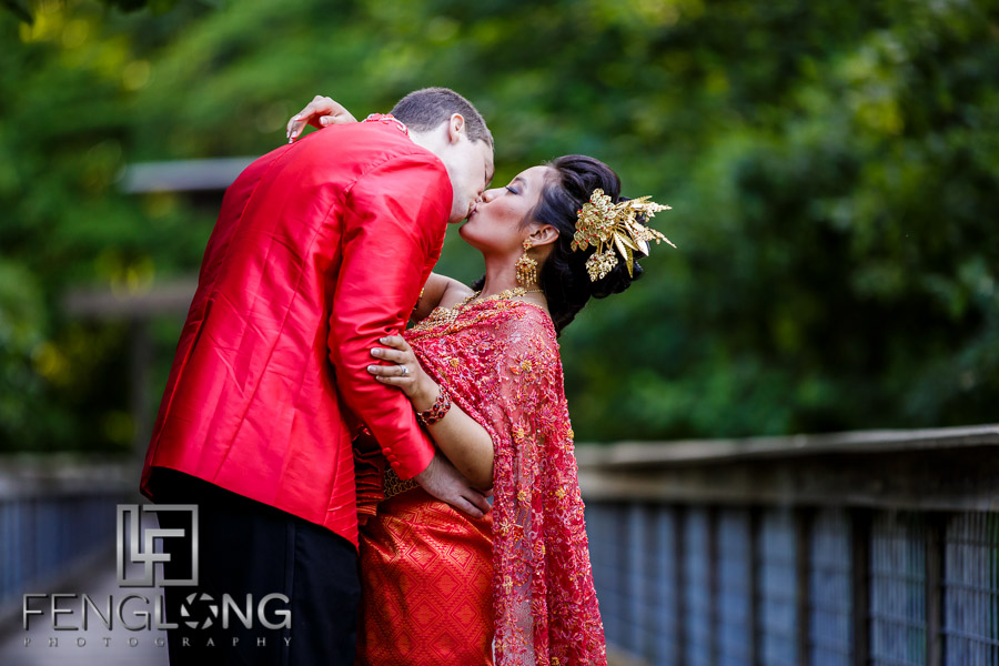 Cambodian bride and groom take creative portraits at McDaniel Farm Park in Atlanta