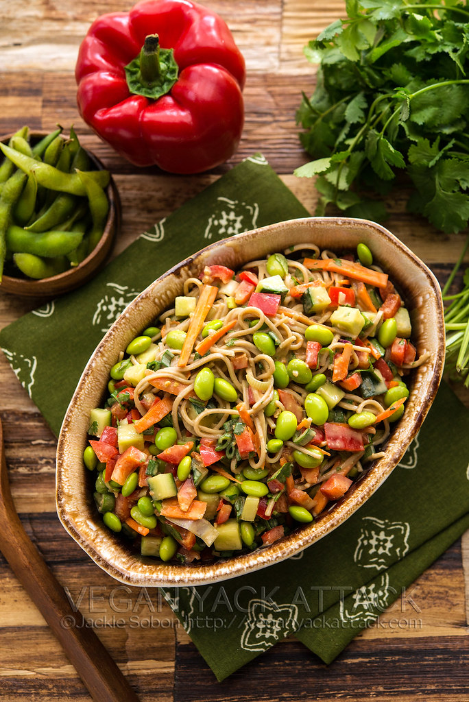 A delicious recipe for the Empowered Noodle Bowl with lots of veggies, and a Thai peanut sauce; from The Oh She Glows Cookbook! Vegan, Dairy-free