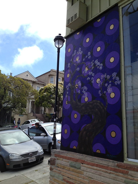 Purple cherry blossom mural
