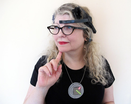 Wearing the SolarStar frame for EEG Visualising Pendant