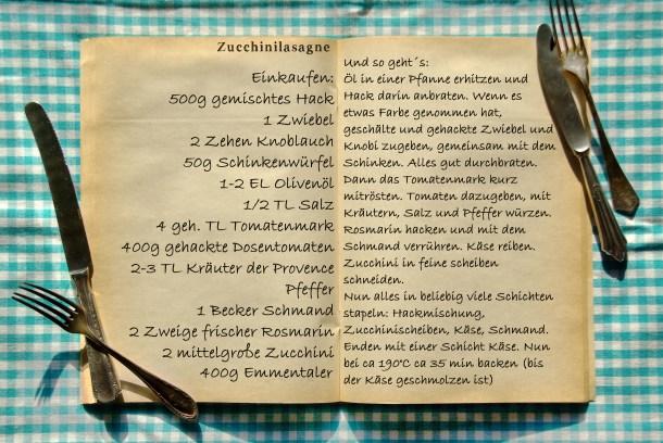 Einkaufszettel Zucchinilasagne by Glasgefluester