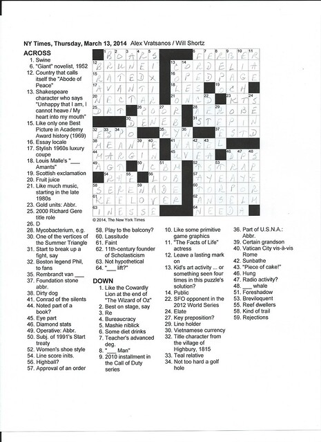 NYT Thursday Puzzle - March 13, 2014