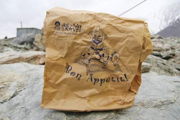 Lunch bag from Ak-Sai Travel. South Inylchek Glacier Trek
