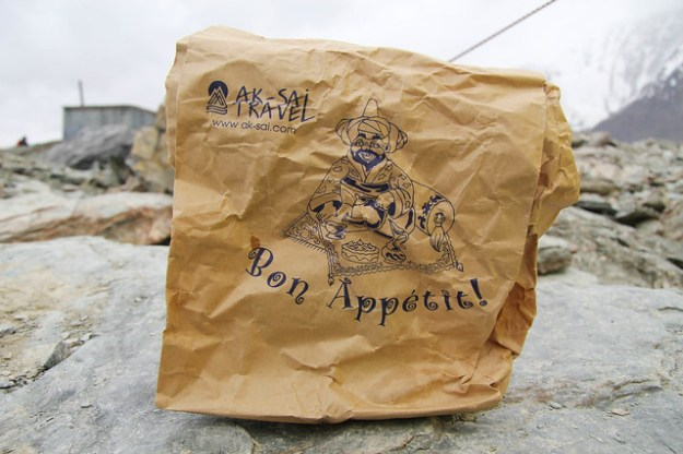 Lunch bag from Ak-Sai Travel. South Inylchek Glacier Trek