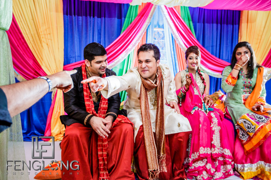 Bride and groom at Indian wedding Sangeet
