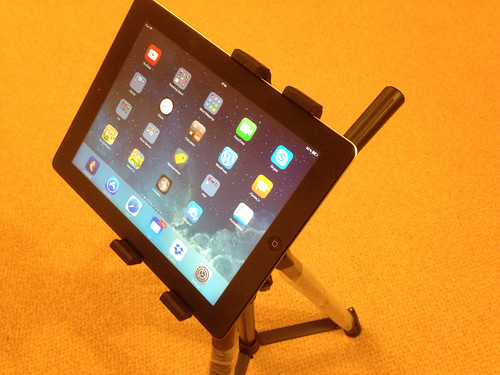 image of an iPad mounted on a tripod