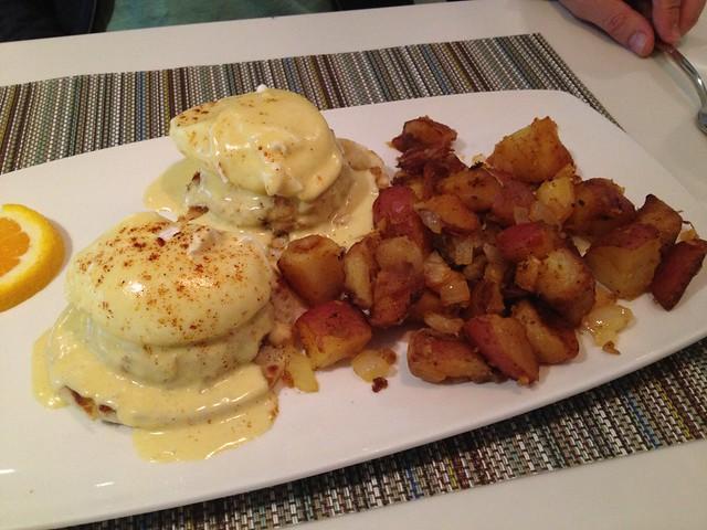 Crab cake benedict - Solaire Restaurant + Bar