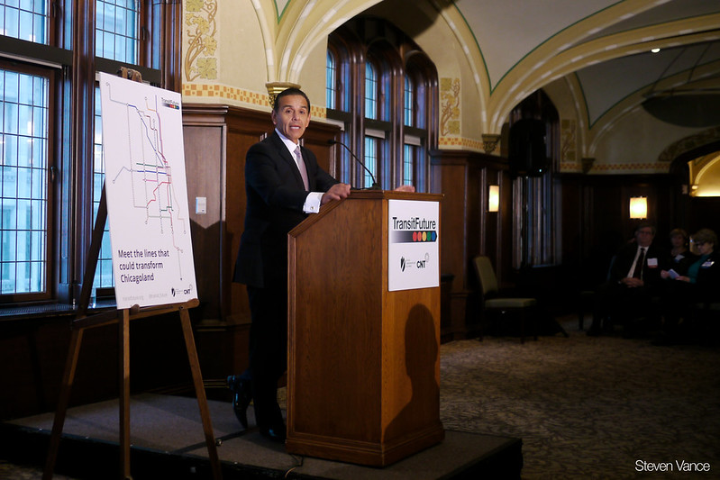 Former LA mayor Antonio Villaraigosa speaking at the Transit Future campaign press conference