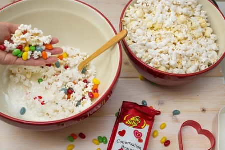 jelly beans and popcorn mix