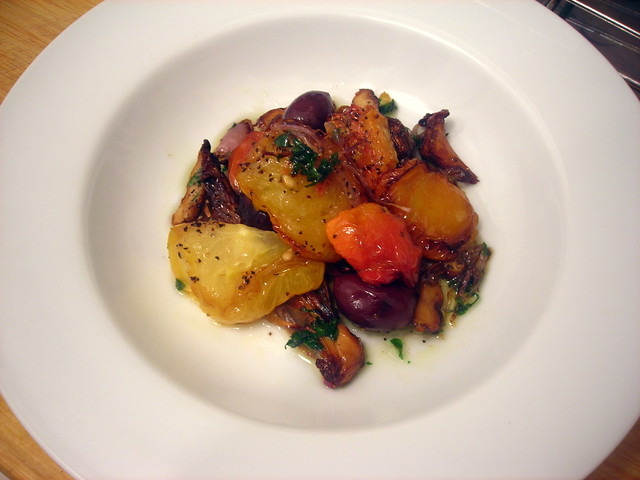 Tomato confit, with chanterelle mushrooms and olives