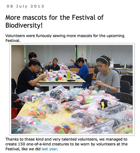 wild shores of singapore: More mascots for the Festival of Biodiversity!