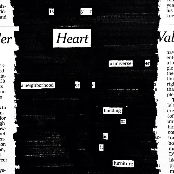 Cardiography #newspaperblackout by Austin Kleon