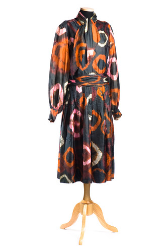 Black silk dress with bold tie-dyed designs