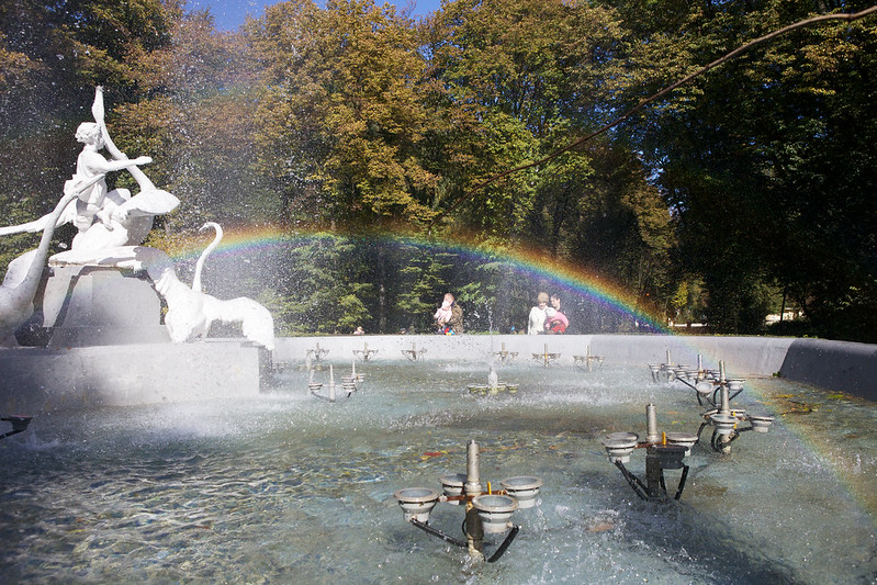 Fountain with rainbow. Striyskiy park, Lviv, Ukraine