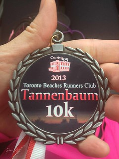close up of the Tannenbaum 10k medal
