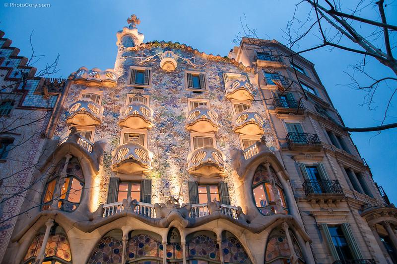 Cas Battlo - Gaudi building architecture in Barcelona, Spain
