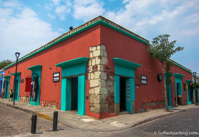 Colorful building in Oaxaca's historic city center