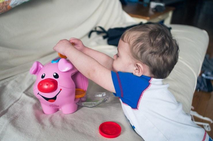 Micah and his piggy bank