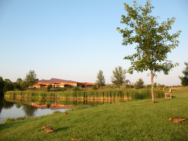 Photo of a shining lake, a small grassy field, and a low library building in the background.