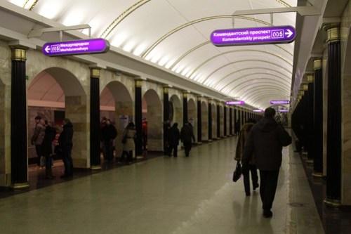 Back at platform level on the Saint Petersburg Metro