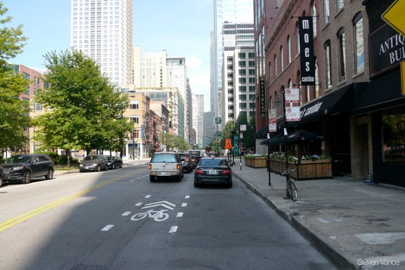 Sharrows on Kinzie Street