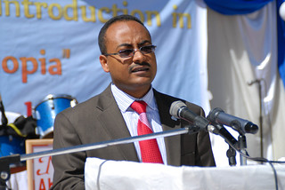 Minister of Health, H.E. Dr. Keseteberhan Admassu makes official launching statement of Rotavirus Vaccine introduction to Ethiopia