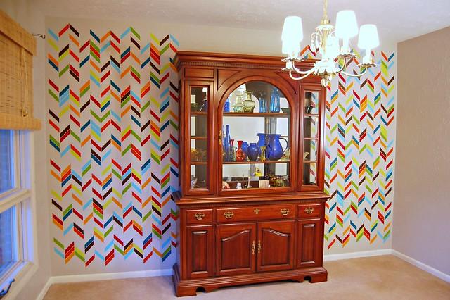 Herringbone Shuffle Dining Room Wall