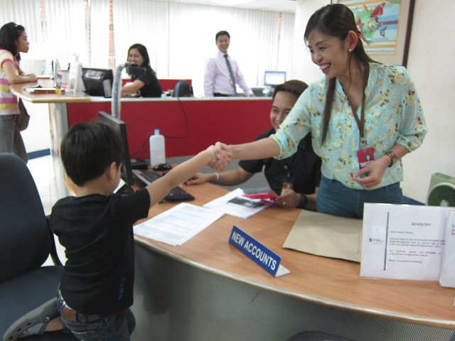 Christian with branch manager Joanne Perez