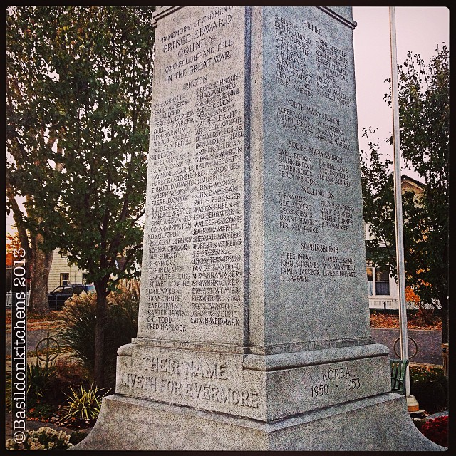 "Nov 5 - written in stone {""Their name liveth for evermore""} Lest we forget. #photoaday #cenotaph #lestweforget #remembrance #picton #princeedwardcounty"