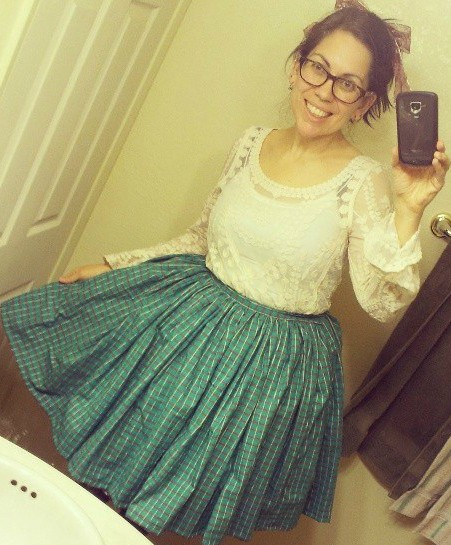green poofy skirt
