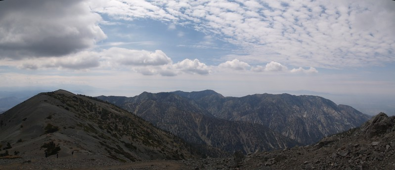 Mount Harwood, Telegraph, Thunder, Cucamonga, Bighorn, and Ontario Peaks from the east side of Mt. Baldy