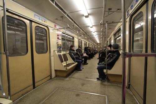 Plenty of empty seats on this Moscow Metro train