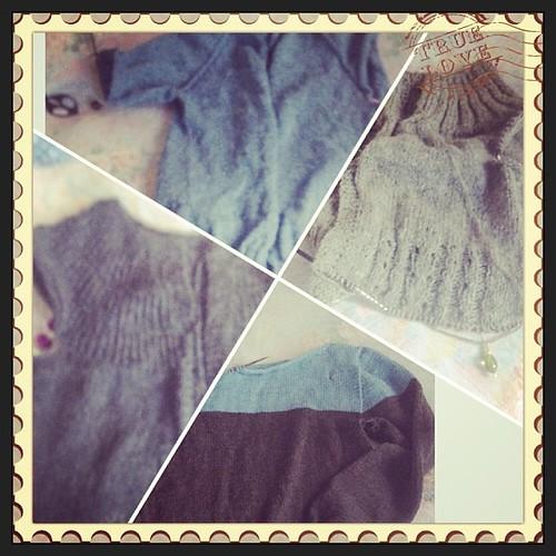 Quattro pull per l'autunno #instacollage #instakint #serialknitters #lavoroamaglia #fattoamano #fall #knit #knitting #emmafassio