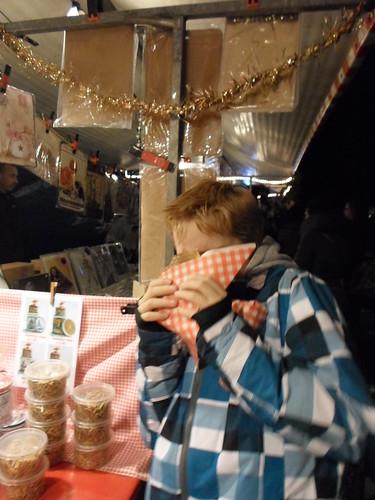 Alex Hiding Behind a Stroopwaffel