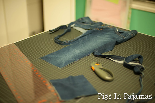 Cutting up jeans for quilts