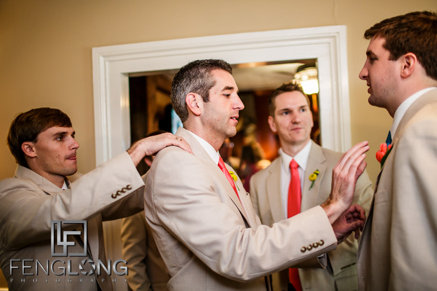 Groom and groomsmen get ready before reception