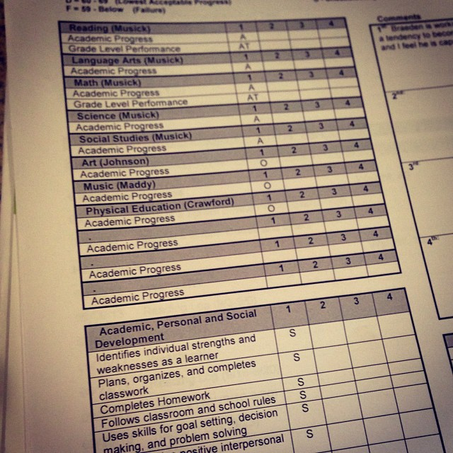 First report card with REAL grades! #proudmama