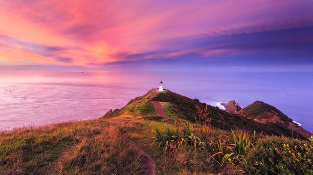 Where the oceans meet, Cape Reinga Lighthouse, New Zealand