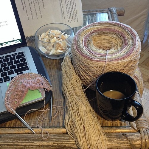 #sunday #kauni #coffee #shawl #soothing #pointeshoespunkrockandpurl by Pointe Shoes Punk Rock And Purl Pix